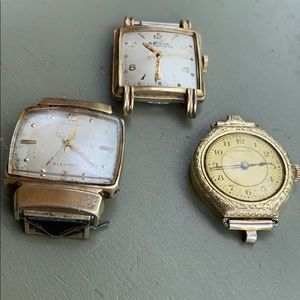 Men's watch faces gold filled for scrap or parts